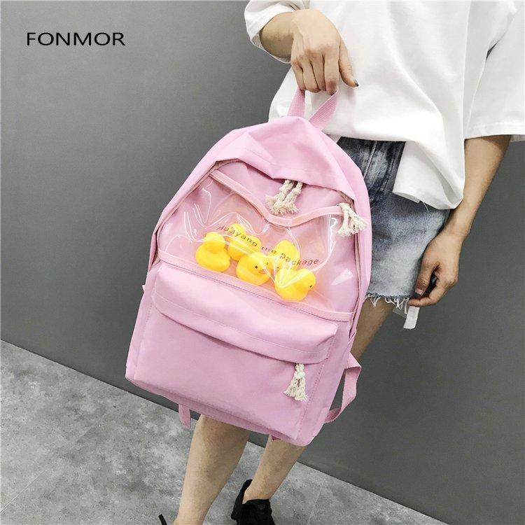 2019 newTransparent small yellow duck backpack Korean version Harajuku girl high school student bag female tide backpack 4 durk