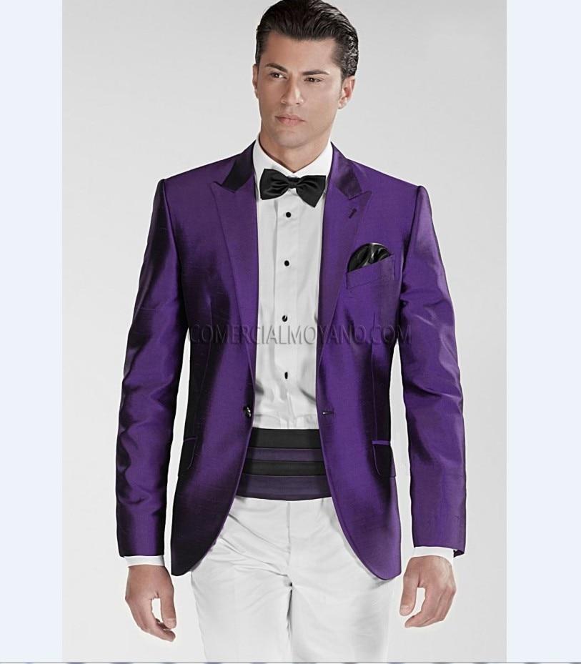 (Purple Jacket White Pants) Groomsmen Peak Lapel Groom Tuxedos Men Suits Wedding Best Man (Jacket+Pants+Tie+Hankerchief) B857
