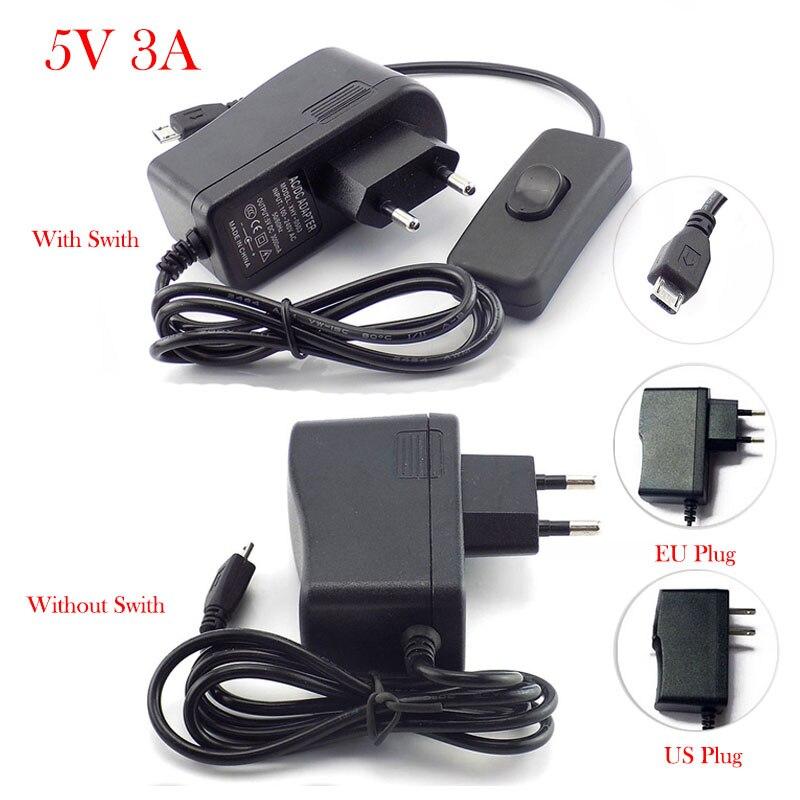 Микро USB AC к DC адаптер питания США ЕС вилка вкл/выкл переключатель 100 в-240 в конвертер зарядное устройство DC 5 В 3A 3000ма для Raspberry Pi