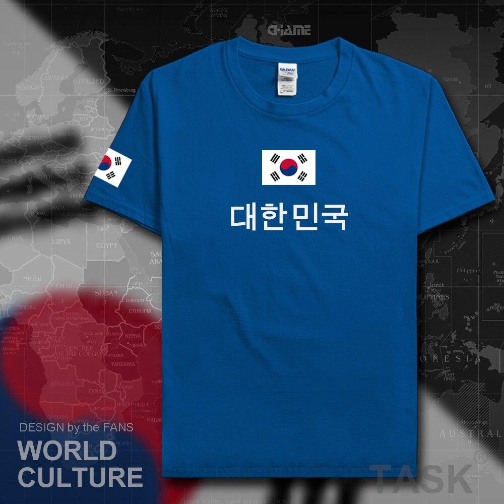 República da coreia do sul t camisa homem kor 2017 camisa t-shirts nação equipe 100% algodão reunião fãs streetwear fitness bandeira coreana