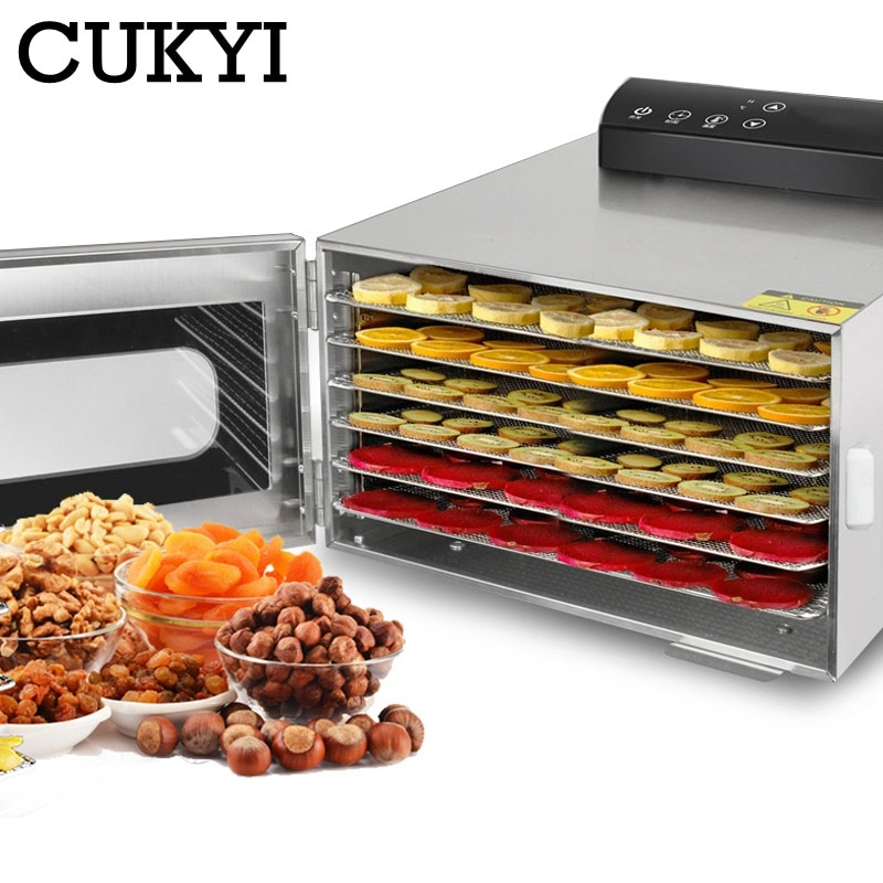 Cukyi 6 bandejas alimentos desidratador lanches desidratação secador frutas vegetal erva carne máquina de secagem aço inoxidável 110 v 220 v ue eua