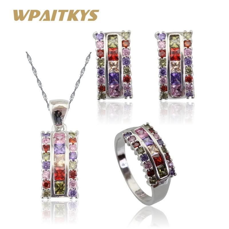Разноцветные камни Серебряный Цвет Ювелирные наборы для женщин рождественское ожерелье Кулон Серьги Кольца бесплатная коробка Сделано в Китае
