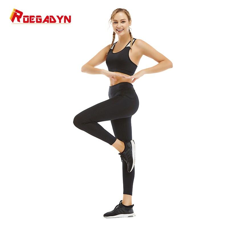Otoño de manga larga traje de Yoga ropa de entrenamiento para mujer moda deportiva Leggings sujetadores conjunto de Yoga Fitness gimnasio desgaste