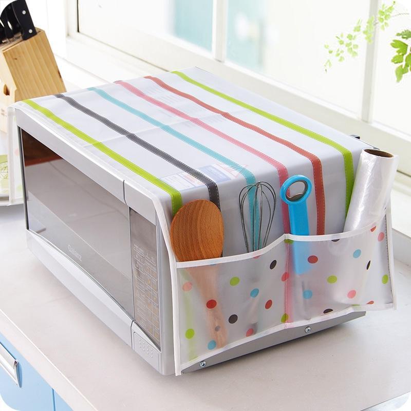 Adeeing exquisita cubierta de horno de microondas con 2 bolsillos impermeable a prueba de aceite cubierta de horno suministros de cocina para el hogar