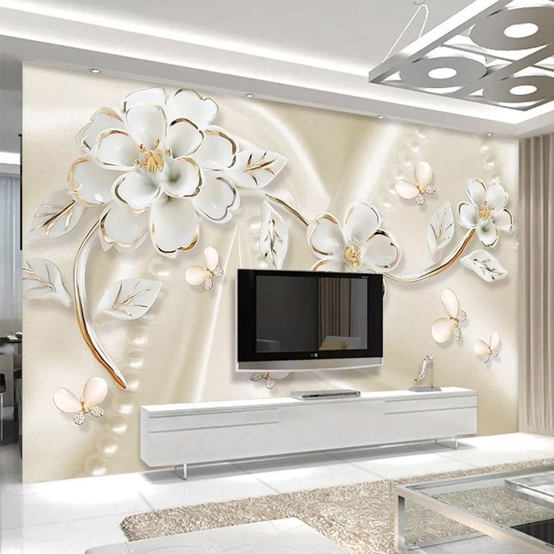 Papel tapiz fotográfico moderno 3D estéreo en relieve flores blancas murales Sala TV sofá adhesivo de fondo de pared papel tapiz autoadhesivo