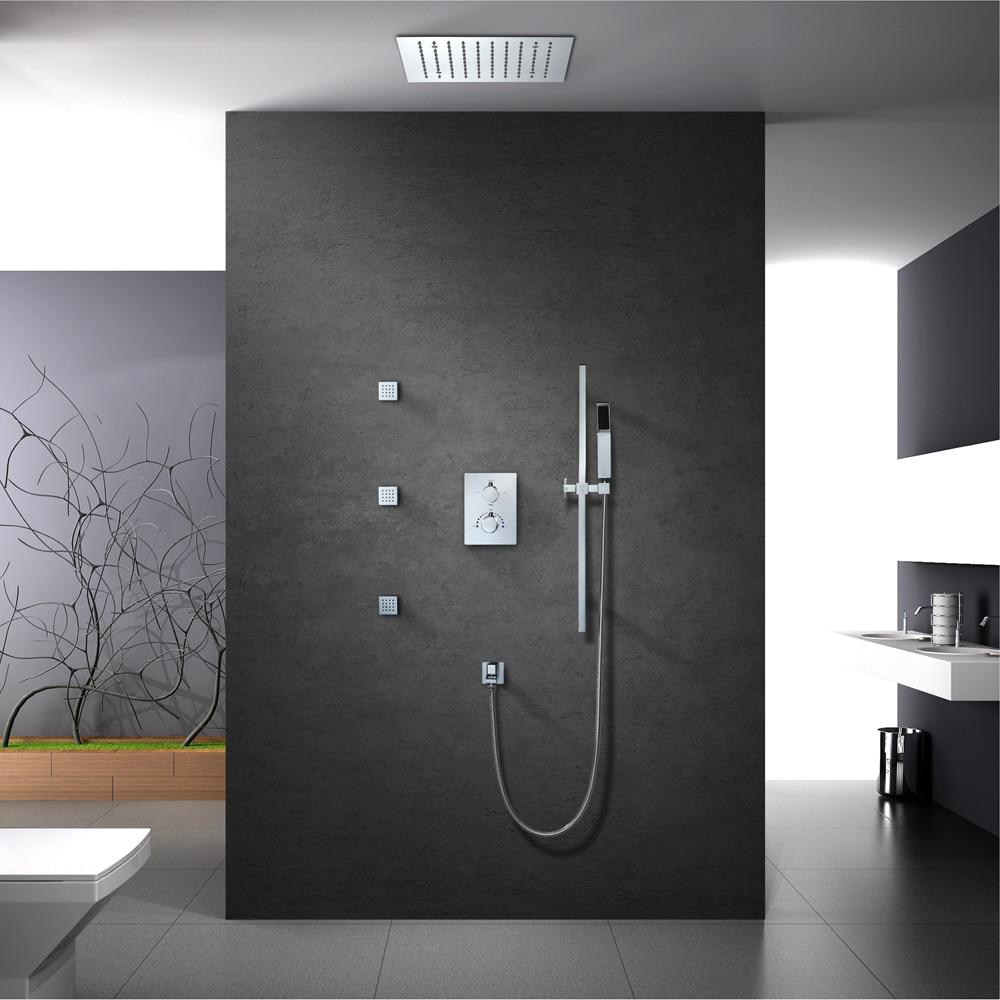 Grifo de ducha moderno HIDEEP, grifo de ducha termostático de latón cromado, juego de Ducha