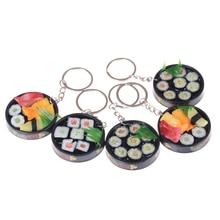 Fashion Plastic Food Keychain Toys Simulation Sushi Plate Model Key Ring Box Gift Key Chain Unisex  Keychain New Fashion