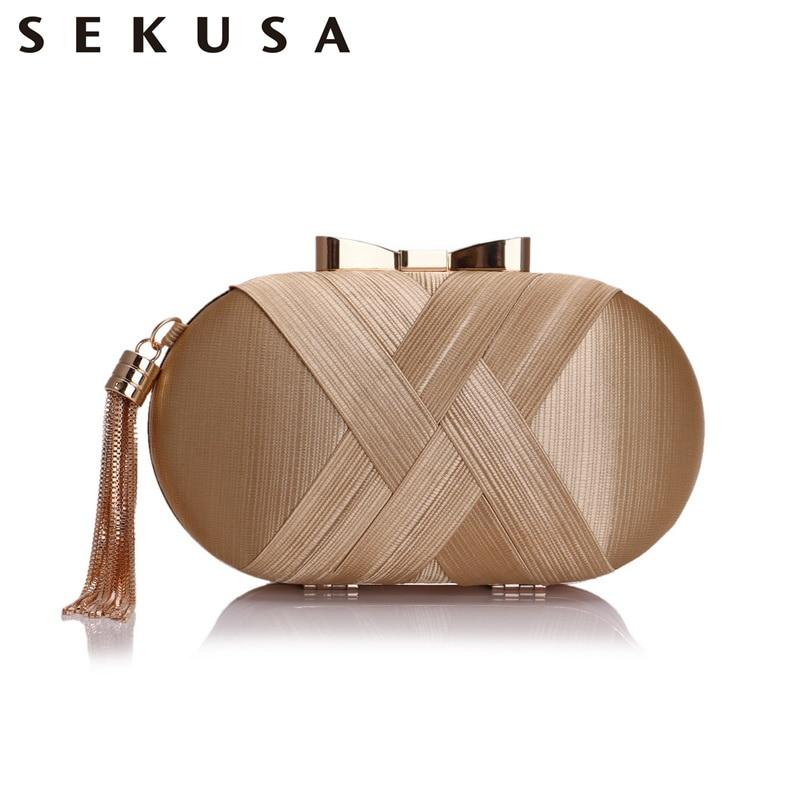 SEKUSA Bow Metal Women Day Clutches Tassel Luxurious Fashion Lady Evening Bags Small Party Wedding Bridal Chain Shoulder Handbag