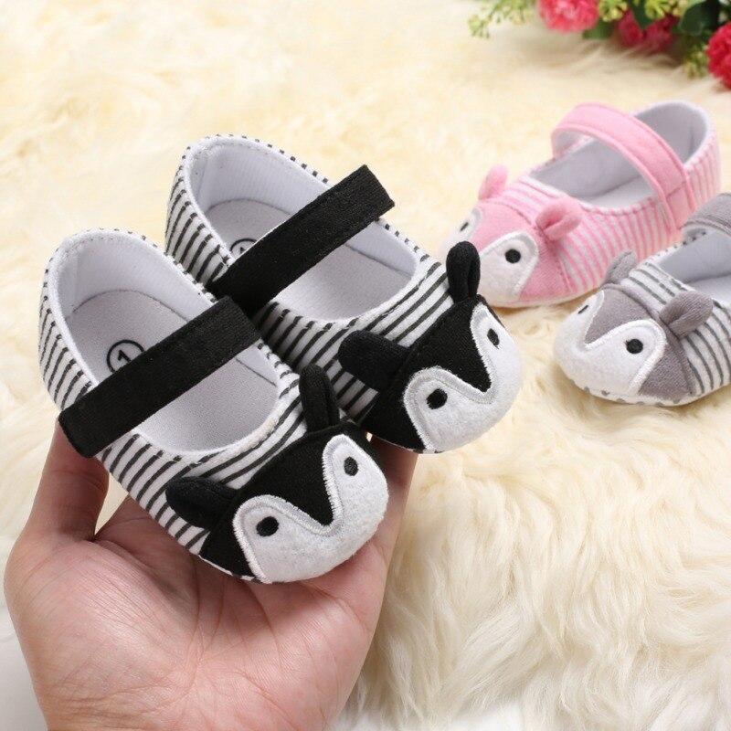 Zapatos de bebé a rayas de zorro bonitos zapatos de princesa de niña pequeña antideslizante suela suave zapatos de cuna primeros andadores 0-18M
