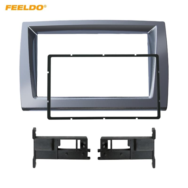 FEELDO 2DIN, Panel de Radio estéreo para coche, marco de controles para Fiat Bravo 2006 + Panel de Audio, Panel de tablero, embellecedor de marco de montaje