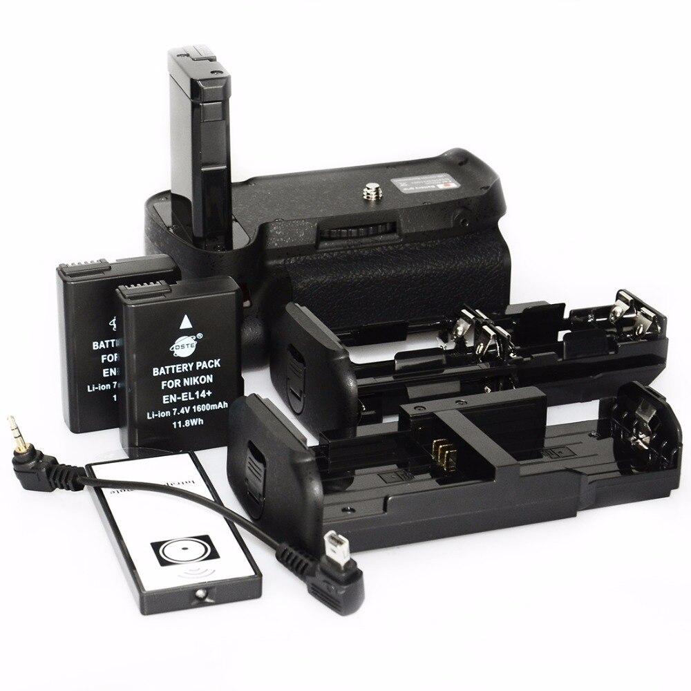 Dste vertical aperto da bateria para nikon d3100 d3200 d3300 d5300 câmera bateria handgrip titular controle remoto com 2 pçs EN-EL14
