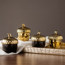 Pot de rangement de scellage style danois   Bac de stockage créatif de scellage, cône de pin or, boîte de rangement de bijoux en céramique plaqué or, cadeaux de noël et de nouvel an