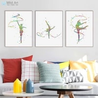 Triptyque moderne aquarelle ruban abstrait gymnastique Art imprimer affiche belle fille chambre mur photo toile peinture maison deco