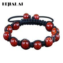KEJIALAI haute qualité cornaline perles macramé Bracelet fait à la main tressage réglable Bracelet rouge gemmes perles Bracelet