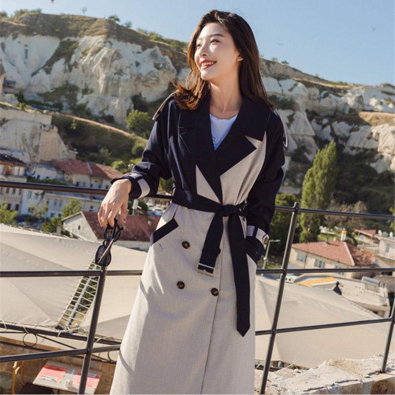 Women Jacket Suit Collar Double Breasted Windbreaker chaqueta mujer moda 2019 Spring New Korean Plaid Splice Long Coat f269