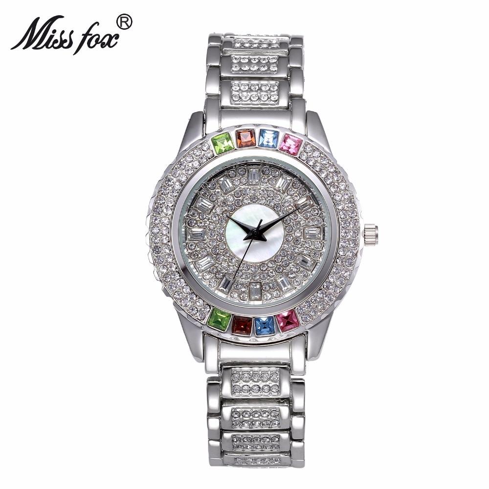 Miss Fox top luxury brand diamond gold watch women fashion colorful crystal ladies wristwatch relogios femininos de pulso 2019