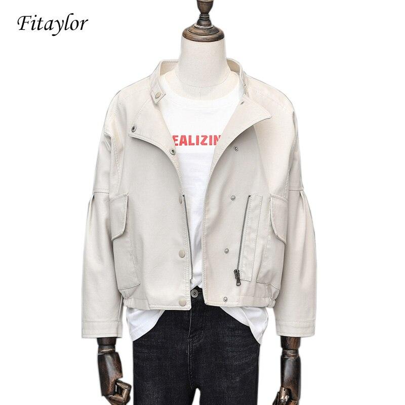 Fitaylor فاسق قصيرة بولي Leather سترة جلدية المرأة سليم زيبر فو الجلود سترة واحدة الصدر الأسود الوردي معطف جلد الإناث