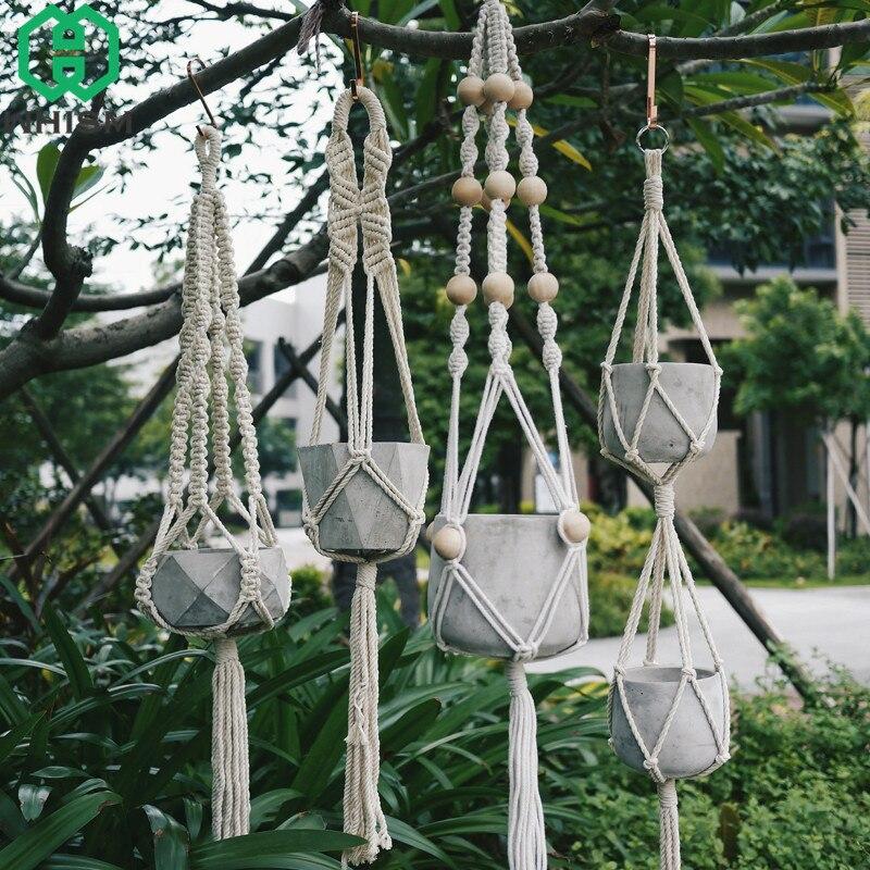 Soporte de cesta colgante WHISM, cesta de flores Vintage, macramé de elevación, macramé, cuerda tejida, Maceta de jardín, maceta, soporte de exhibición