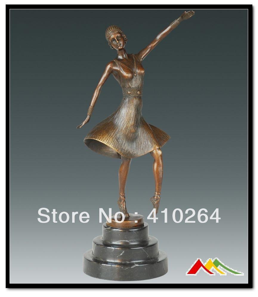 """Buen descuento] envío rápido 100% estatua de bronce arte, escultura deco dancer """"Ballet Ruso"""" firmado D. H. Chiparus"""