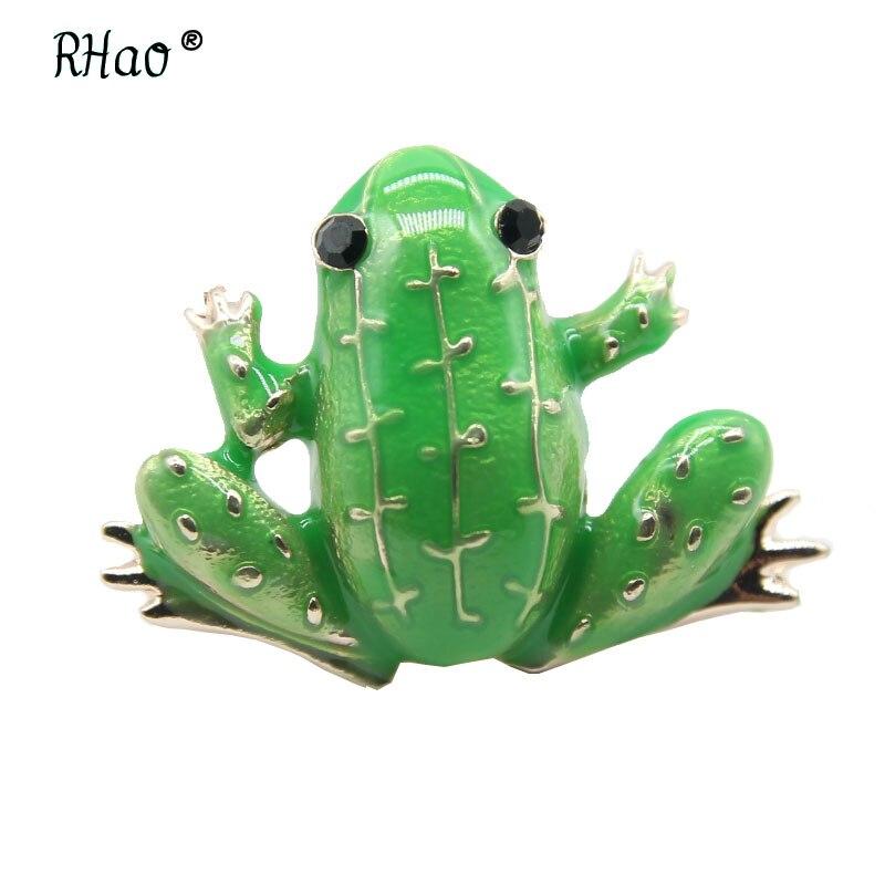 Broches de rana vívida RHao, broches de esmalte verde, broches para mujer y hombre, ropa, joyería, ramillete, bolsas y abrigos, accesorios de vestido, broche de collar de regalo, ramillete
