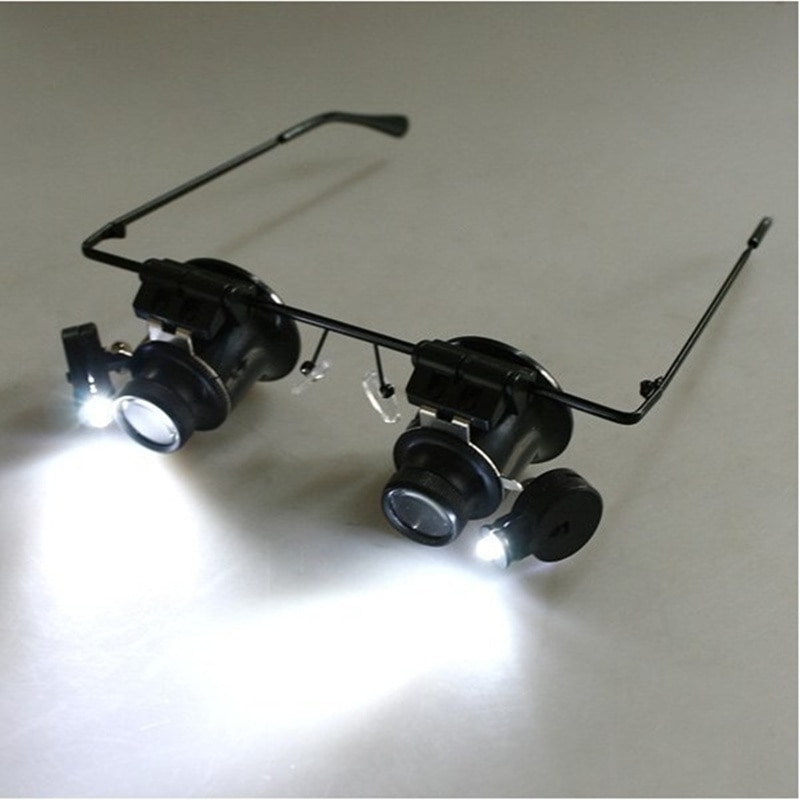20x magnifying glass with led lights glasses magnifier for watch repair binocular Loupe Jewelry repa