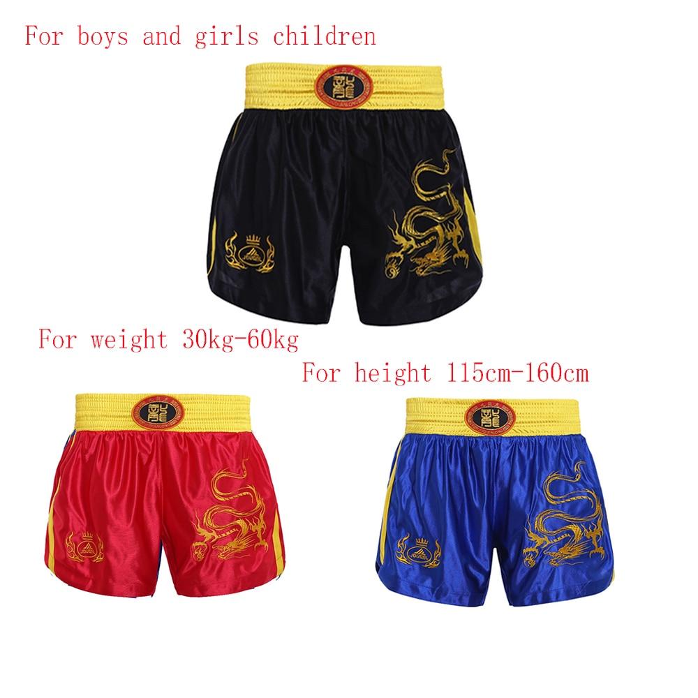 used for boys and girls traing shorts mma boxing shorts Sanda Muay Thai pants embroidered dragon  short pants