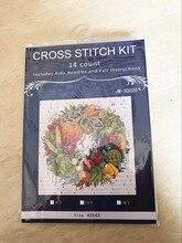 Guirlande couronne de légumes 45x45 cm   Joli kit de point de croix compté, bonne qualité 14CT, Janlynn