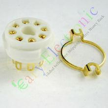 Vente en gros et au détail 8 pc doré 8pin en céramique tube à vide prise de montage or base de soupape EL34 KT88 6550 livraison gratuite