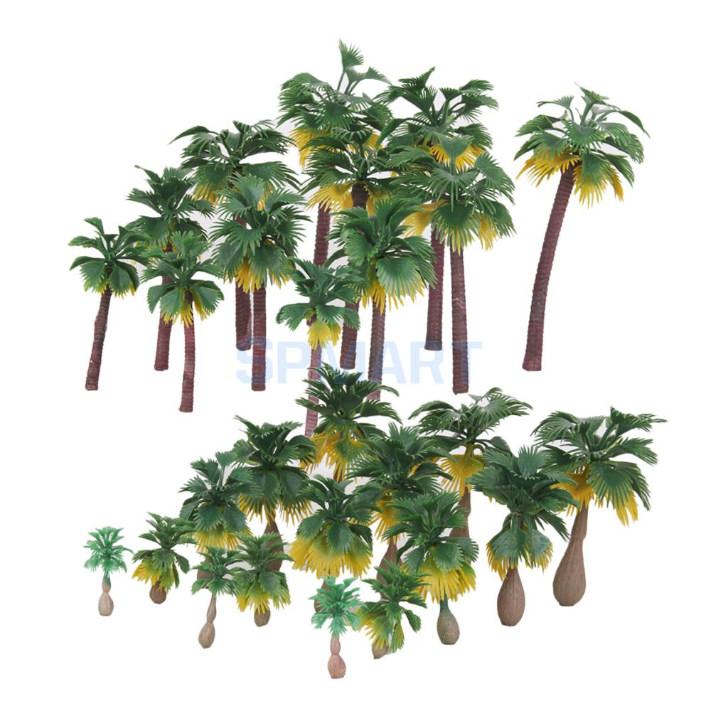 27Pcs Landschaft Layout Modell Baum Palm Bäume Regen Wälder HO O N Z Skala