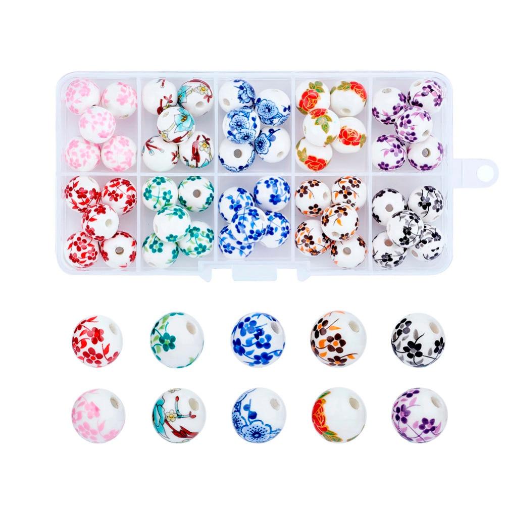 12mm estilo mixto redondo cuentas de porcelana hechas a mano para hacer joyería DIY, Color mezclado, agujero 3mm, 5 piezas/compartimento 50 piezas/caja