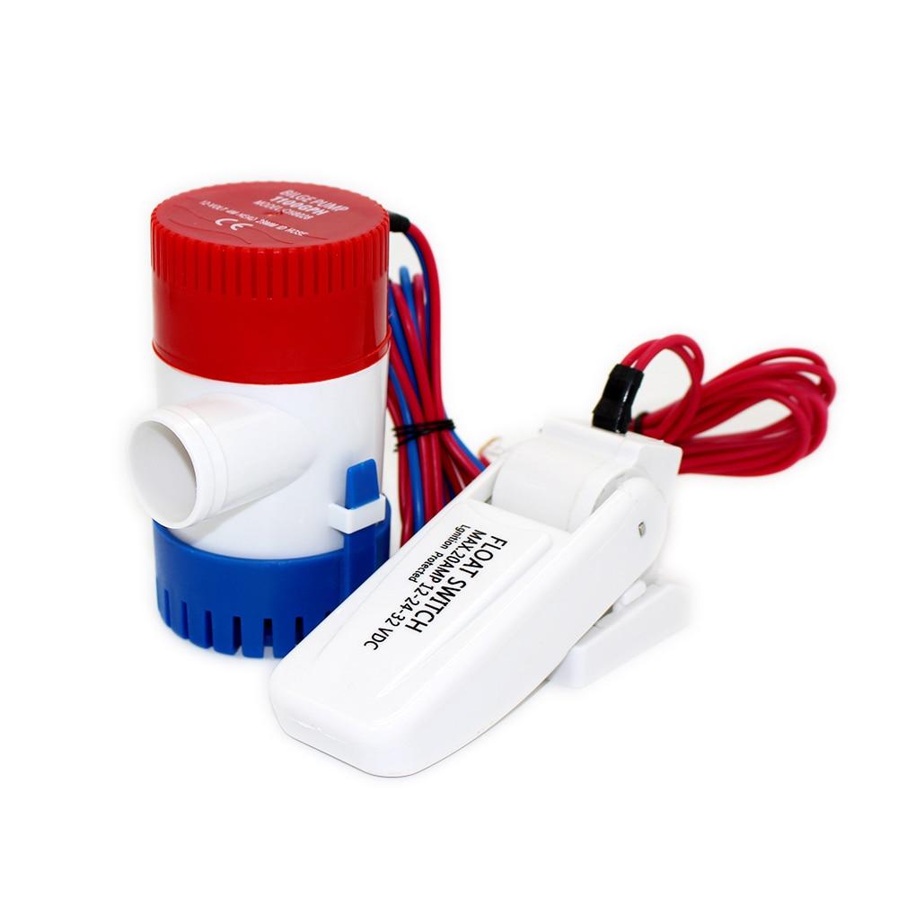 350GPH dc 12v 24v mini boat bilge pump with float switch kayak rule water electric 350 gph volt manual marine 12 v rinse wash