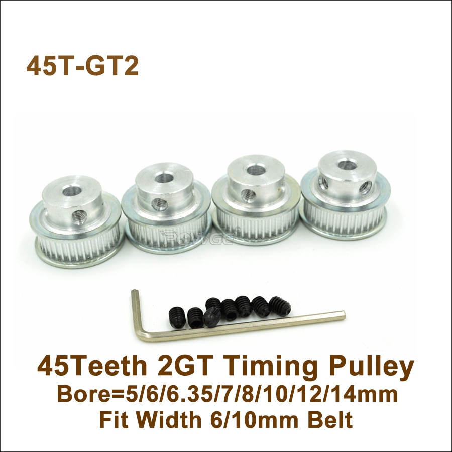 POWGE 45 Teeth 2GT Timing Pulley Bore 5/6/6.35/7/8/10/12/14mm Fit W=6/10mm 2GT Synchronous Belt 45T 45Teeth GT2 Pulley