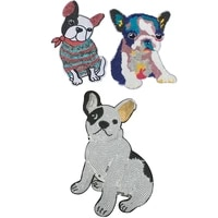 new arrival cartoon peg dog sequined sew on iron on patches for clothes bags diy sewing animal embroidery appliques 2 pieceslot