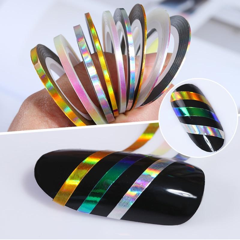 3 rollo arte de uñas pegatinas cintas de rayas de uñas línea adhesiva para DIY decoración para uñas Consejos 1mm 2mm 3mm