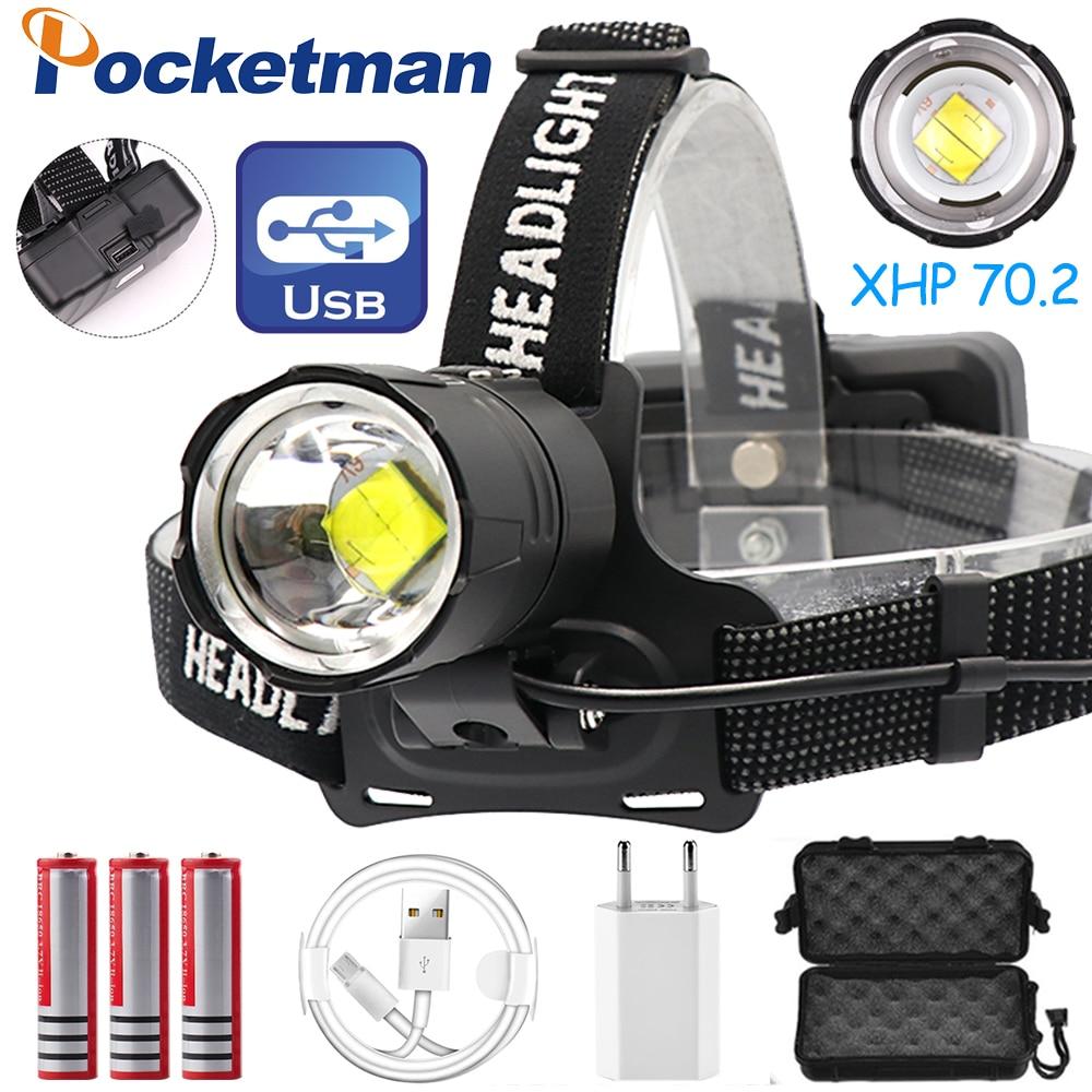 Krachtige LED Koplamp XHP70.2 LED Koplamp USB Oplaadbare Head Light Zoom Head Lamp Waterdichte Hoofdlamp