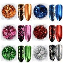 1 boîte aluminium ongles flocons paillettes poudre magique miroir paillettes or argent bonbons couleurs irrégulière Pigment ongles décorations