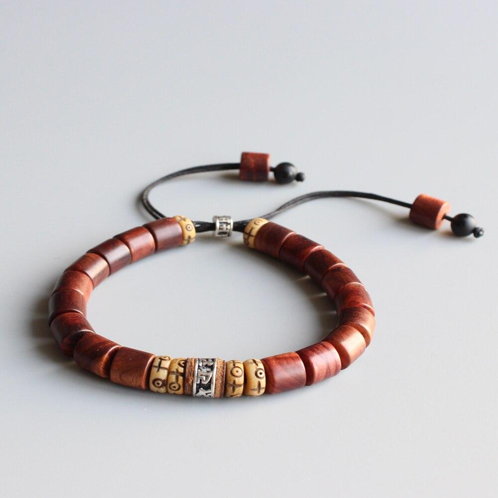 Madera Natural lijadora con amuleto Budista Tibetano OM MANI PADME HUM pulsera encantadora para hombre mujer pulsera de Cruz de la suerte hecha a mano
