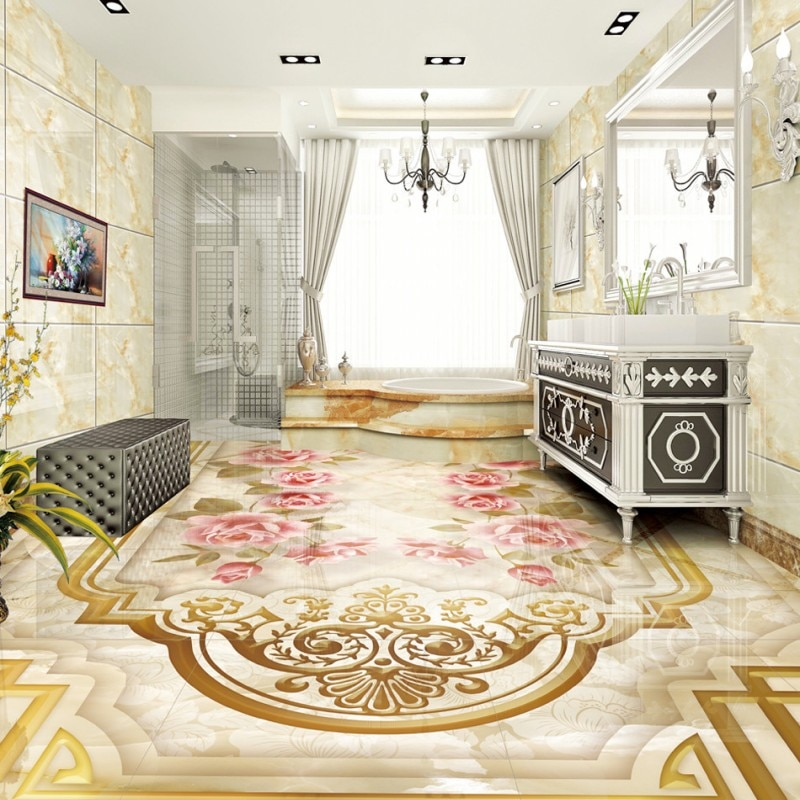 Envío Gratis, Parquet de rosas con patrón de mármol para pasillo, dormitorio, piso 3D, fondos de pantalla estéreo para sala de estar y dormitorio