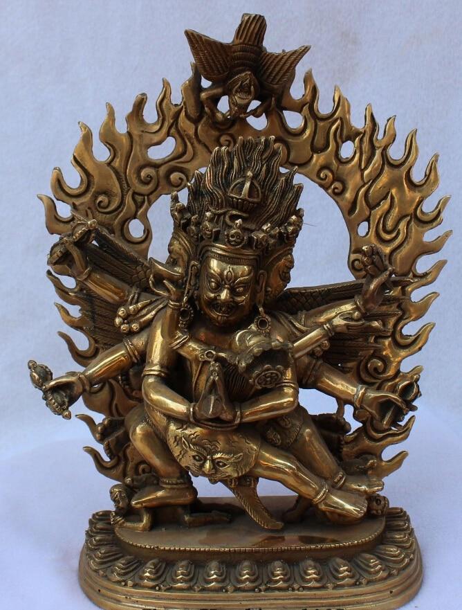 "SCY 8 ""Viejo Tíbet Budismo Bronce Dorado 3 Cabeza de 6 Brazos Mahakala Yab-yum Buddha Statue"
