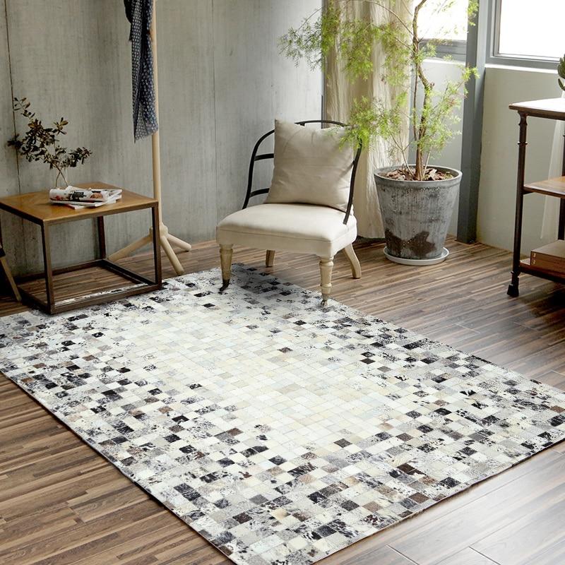 سجاد فاخر على الطراز الأوروبي لغرفة المعيشة وغرفة النوم وطاولة الشاي مع خياطة يدوية من جلد البقر ، XW01