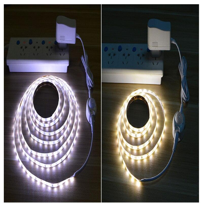 12V LED luz de noche US EU PIR Sensor de movimiento detección cinta tira lámpara cocina cinta ligera lámpara pasillo cama