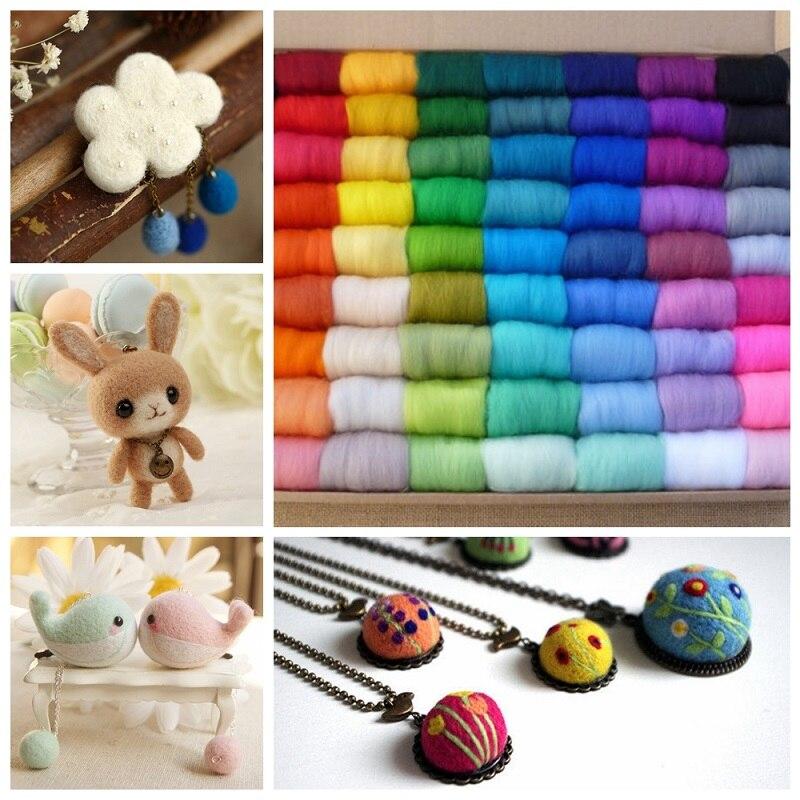 12 bolsas/lote 100 colores al azar/bolsa de fieltro giratorio de fibra de lana para fieltro de aguja hilado a mano DIY artesanía divertida costura XLZ9074
