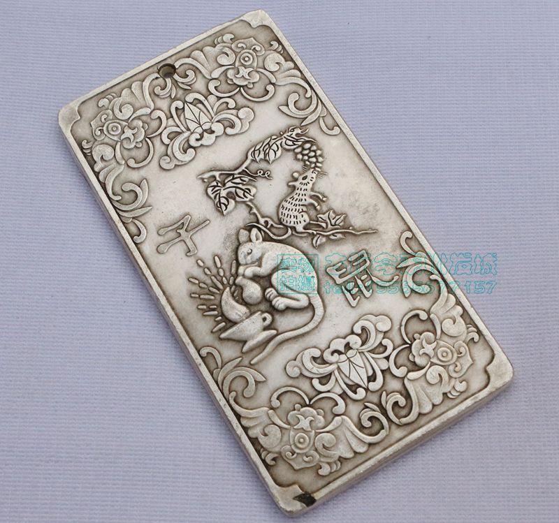 Plata del Tíbet o China lingote thanka Zodíaco fengshui animal mouse estatua collar con colgante de amuleto de metal artesanía
