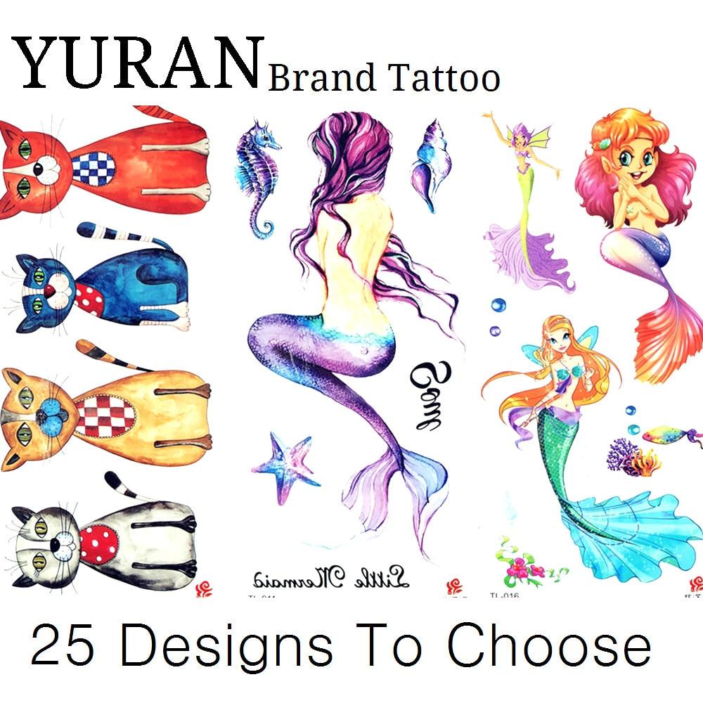 Tatuaje temporal de acuarela dibujos animados gatos sirena mar Concha tatuaje pegatina chica niños chico mano tatuaje falso regalos de navidad