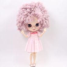 Poupée Blyth usine nue glacée No. BL1049/2352 mélange violet rose Afro cheveux corps articulaire peau blanche Neo 1/6 bjd