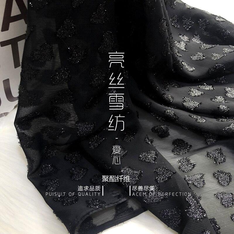 Nuevo Seda brillante de gasa negra brillante de seda de tres dimensiones amor bordado tela jacquard Vestido de gasa vestido de tela de alta calidad