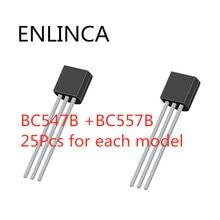 50 pièces BC547 + BC557 chacune 25 pièces BC547B BC557B NPN PNP Transistor TO-92 Triode de puissance Transistor kit sac