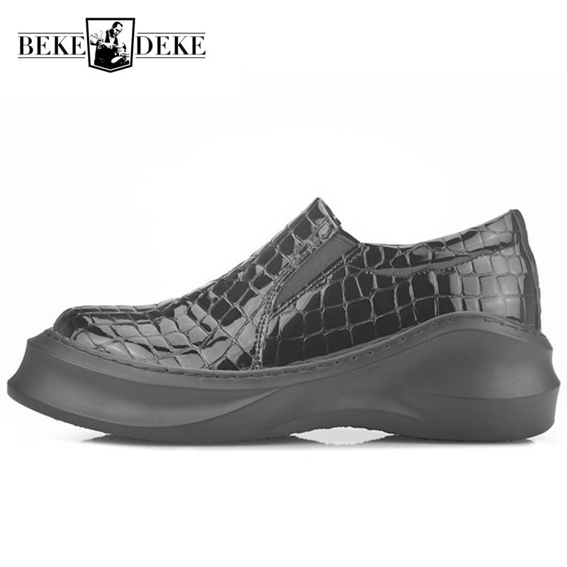 Zapatos informales de cuero genuino para hombre, zapatillas deportivas de lujo negras con suela gruesa, zapatillas transpirables gruesas, zapatillas sociales