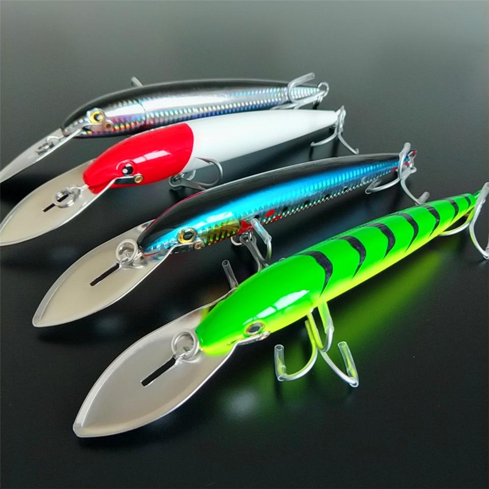 NOEBY 4pcs/lot Big tongue minnow lure 64.7g/185mm 76g/225mm 4 colors 3D eyes Artificial big hard lure fishing lure