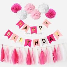 happy birthday banners pink girl blue boy birthday party decorations  tissue paper tassel  pom poms  pastel tatssel banners